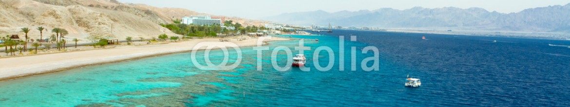 38267205 – Israel – Panorama coastline of Red sea from coral reef