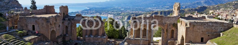 46447803 – Italy – Ancient greek roman theater in Taormina – Sicily