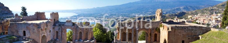 46448499 – Italy – Ancient greek roman theater in Taormina – Sicily