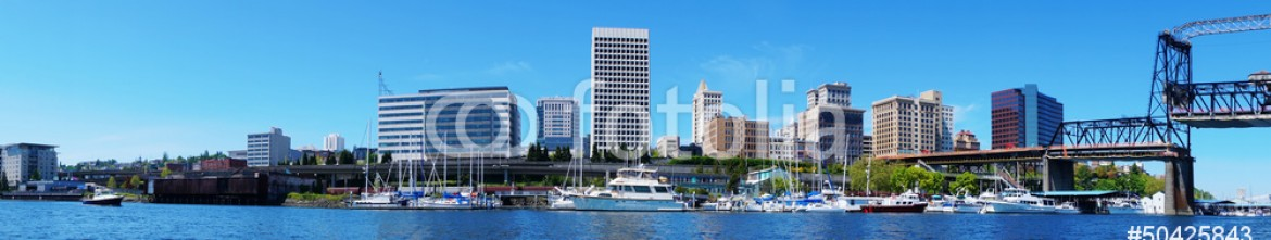50425843 – United States of America – Tacoma downtown water view with business buildings.