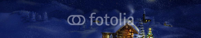 56774390 – Bulgaria – Hut, Christmas tree with lights, panorama landscape