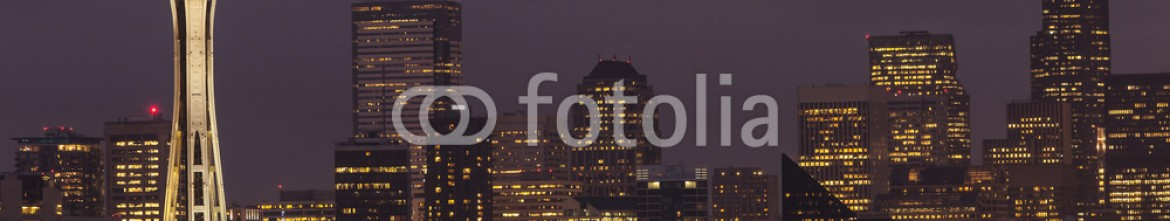 57110660 – United States of America – Seattle skyline at night.