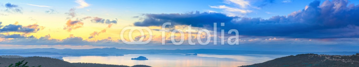 59101324 – Italy – Bolsena lake aerial panoramic view from Montefiascone, Italy.