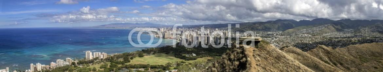 59440950 – United States of America – waikiki and honolulu skyline wide panorama