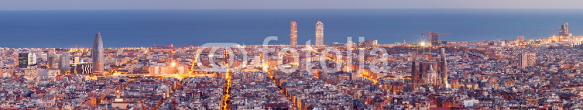 60173102 – Spain – Barcelona skyline panorama at the Blue Hour