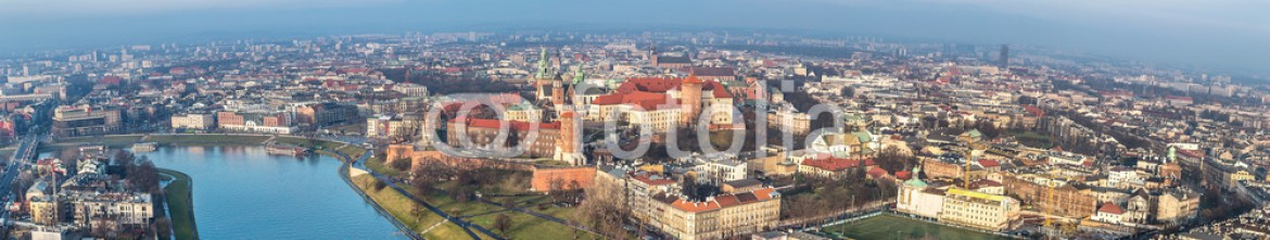 60266448 – Ukraine – Cracow skyline with aerial view of historic royal Wawel Castle a