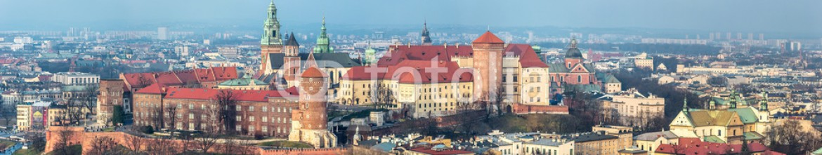 60266453 – Ukraine – Cracow skyline with aerial view of historic royal Wawel Castle a