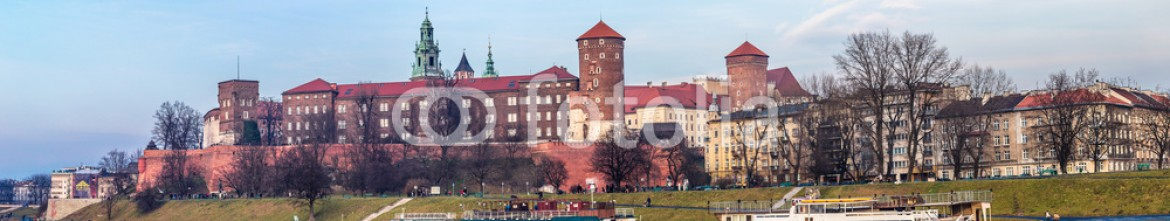 60266462 – Ukraine – Cracow skyline with aerial view of historic royal Wawel Castle a