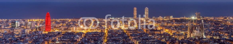 61234693 – Spain – Barcelona skyline panorama at night