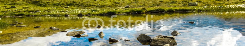 63640722 – Italy – Sentiero in acqua su sassi, Gran Paradiso, Valle d'Aosta