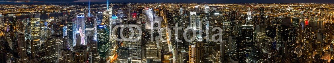 64460805 – United States of America – Aerial New York cityscape at night