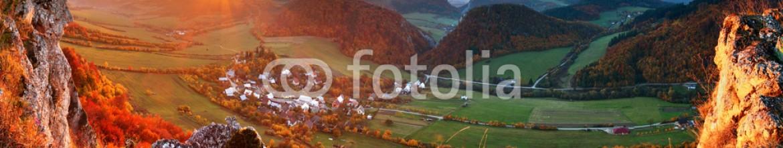69166110 – Slovakia – Autumn mountain  landscape – Village panorama
