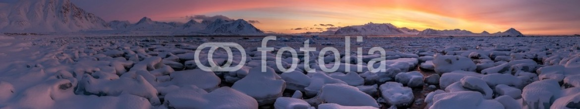 71842222 – Islands of Svalbard and Jan Ma. – Arctic PANORAMA – golden hour – 3 minutes before the sunrise