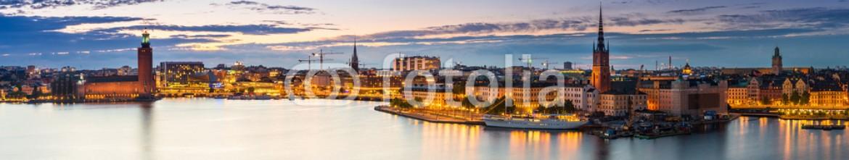 73785813 – Ukraine – Scenic summer night panorama of  Stockholm, Sweden