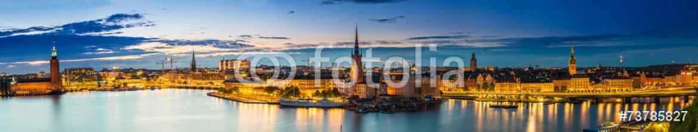 73785827 – Ukraine – Scenic summer night panorama of  Stockholm, Sweden