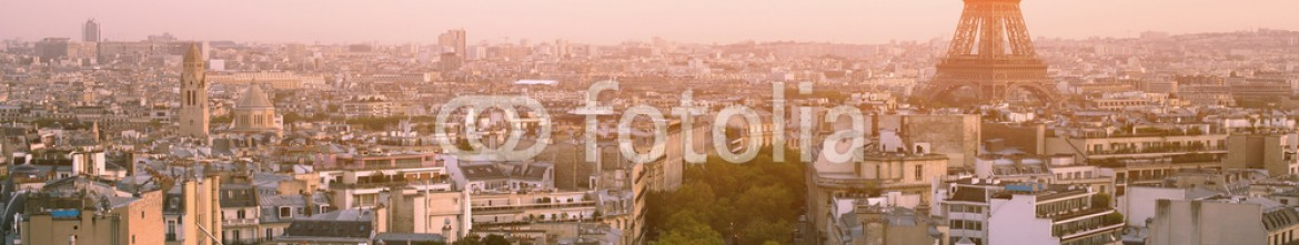 74036032 – France – beautiful sunset over Paris, panoramic view from Arc de Triomphe