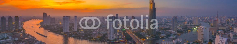 75459775 – Thailand – Sky burst at Chao Phraya river curve
