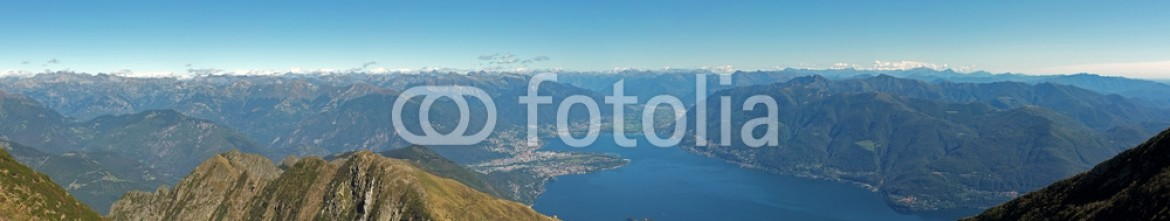 75520063 – Switzerland – panoramic view on the swiss mountains and on the lake maggiore