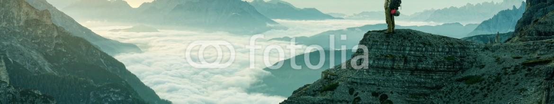 76242784 – Hungary – Hiker man at the rock cliff