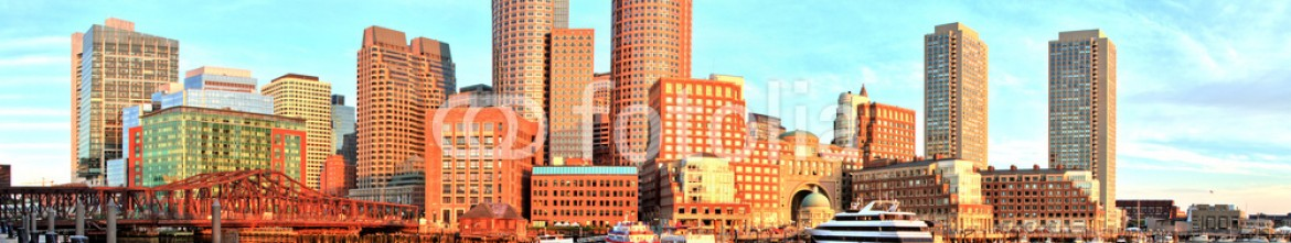 76927165 – Czech Republic – Boston Skyline with Financial District and Harbor at Sunrise