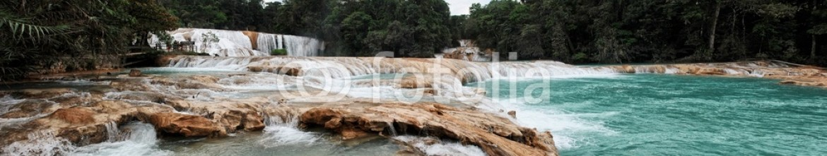 77062701 – Mexico – Panorama of Agua Azul (Blue Water) Waterfalls in Palenque