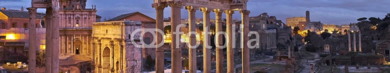 77096457 – Spain – ROman forum panorama. Night shot.