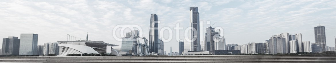 77972535 – China – modern square with skyline and cityscape background