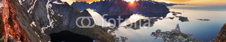 78162781 – Norway – Mountain coast landscape at sunset, Norway