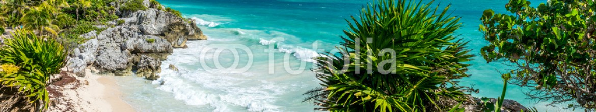 78507080 – Argentina – Huge Panorama of Tulum caribbean paradise and Mayan Ruins. Trave