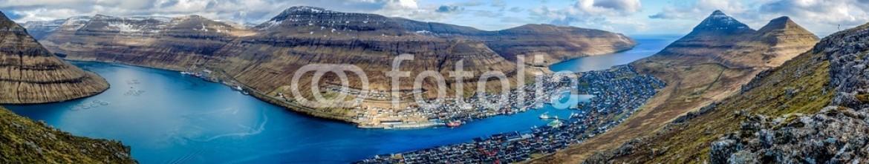 80370610 – Faroe Islands – Panorama over the city Klaksvik, Faroe Islands