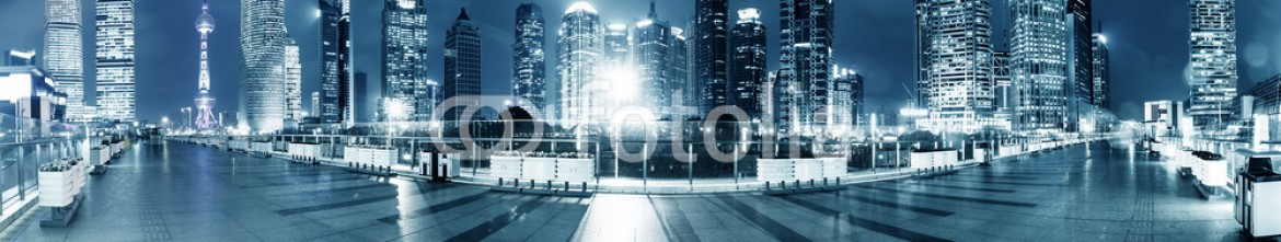 81297011 – China – footpath and modern buildings at night