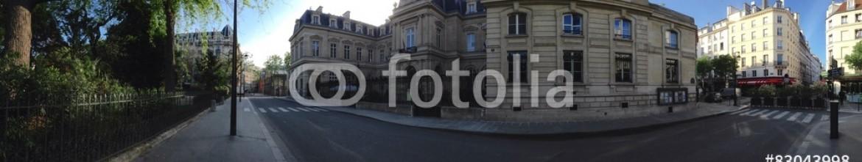 83043998 – Germany – Paris street scene panorama at Marais quarter