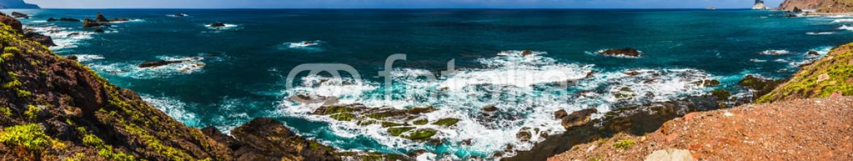 84117406 – Spain – Panorama view to stone coast ocean
