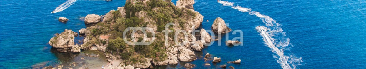 84592469 – Italy – Aerial view of island and Isola Bella beach and blue ocean water in Taormina, Sicily, Italy