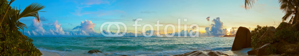 84816378 – Russian Federation – Sunset on beach Source D'Argent at Seychelles