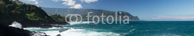 85250546 – United States of America – Waves hit rocks at Queens Bath Kauai
