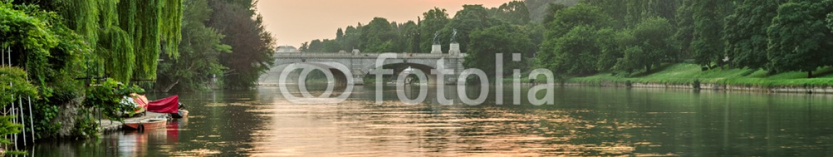 85665132 – Italy – Turin (Torino), river Po and hills at sunrise