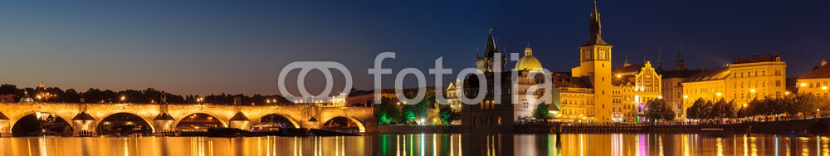 86368859 – Czech Republic – Prague at night Charles Bridge to the river and the old town cen