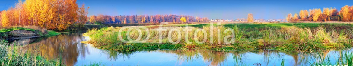 88236097 – Russian Federation – Mellow autumn on lakeside panoramic