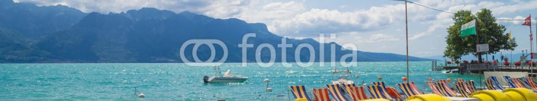88944691 – Switzerland – View of  riviera 's Lake Geneva  at Vevey,  town in Switzerland .