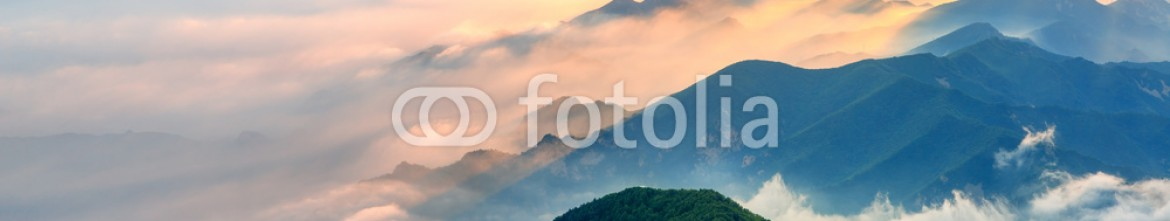 88990979 – China – Foggy landscape in the mountains.