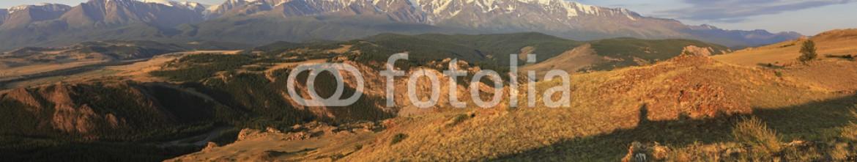 89263332 – Russian Federation – Panorama Kurai steppe and North Chuya ridge at dawn.