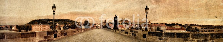 90096388 – Ukraine – Vitage panorama of Charles Bridge