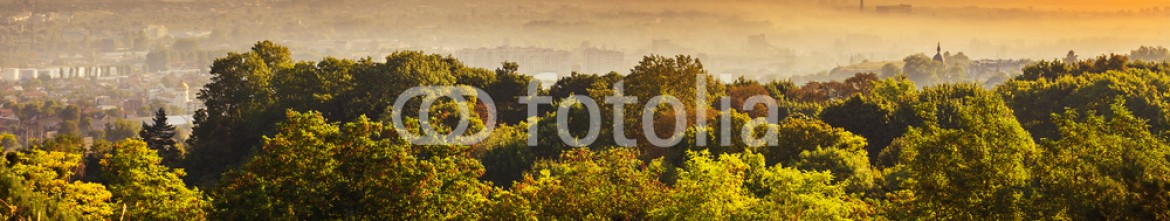90139508 – Ukraine – Exciting sunrise over fogged city and park, aerial view, Lviv
