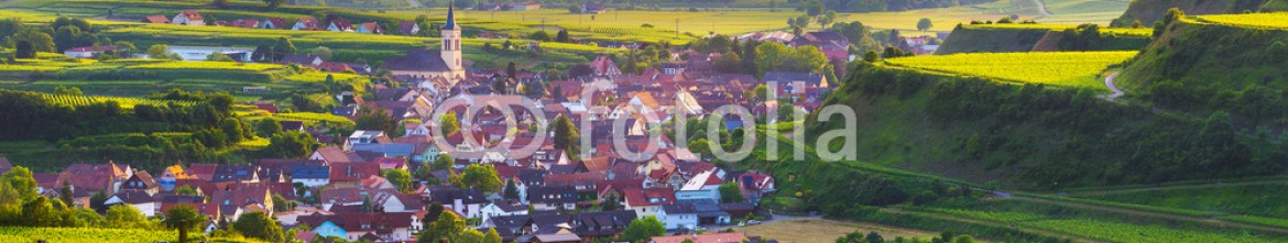 91744792 – Russian Federation – Beautiful scenic mountain panorama with vineyards and old picturesque town in Germany at sunset, Black forest, Kaiserstuhl, Oberrotweil.Travel and wine-making background.