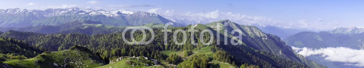 92497245 – Russian Federation – Green hills and mountains meadow mount sky