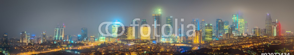 92972434 – Ukraine – Panorama of Istanbul and Bosporus at night