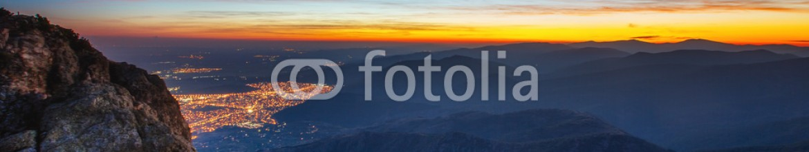 93051474 – Bulgaria – Beautiful sunset over the city, scenic panoramic view  .