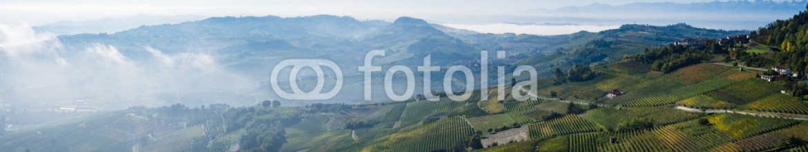 93065725 – Italy – Panoramic view of the Langhe vineyards and hills in autumn