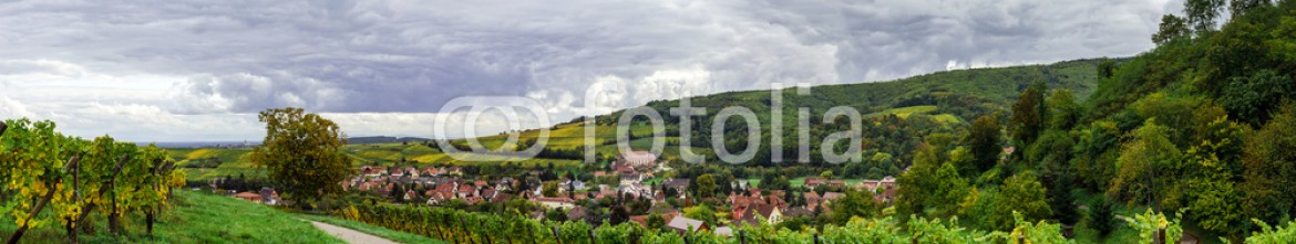 93188216 – France – Beautiful colorized autumn hills in Alsace, panoramic view